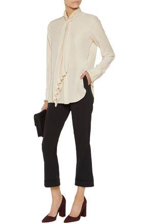 THEORY Bellana gathered crepe blouse