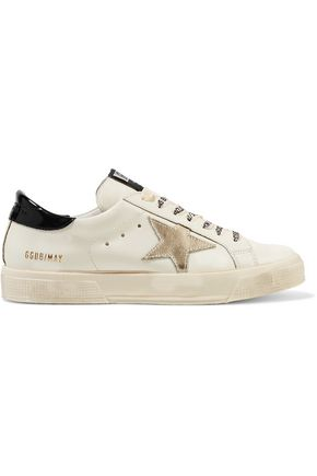 GOLDEN GOOSE DELUXE BRAND May metallic distressed glossed-leather sneakers
