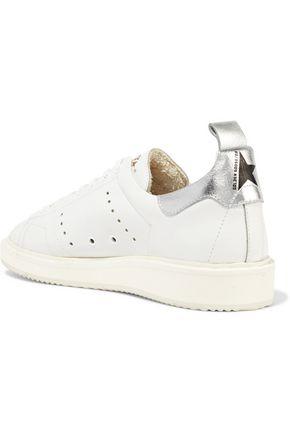 GOLDEN GOOSE DELUXE BRAND Metallic-trimmed leather sneakers
