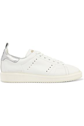 GOLDEN GOOSE DELUXE BRAND Metallic-trimmed leather sneakers