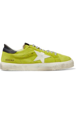 GOLDEN GOOSE DELUXE BRAND Metallic and leather-trimmed suede sneakers