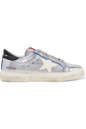 GOLDEN GOOSE DELUXE BRAND Distressed metallic sliced leather sneakers