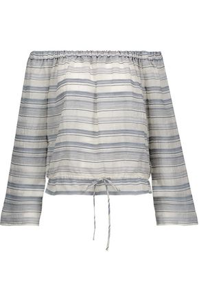 THEORY Off-the-shoulder striped cotton and silk-blend top