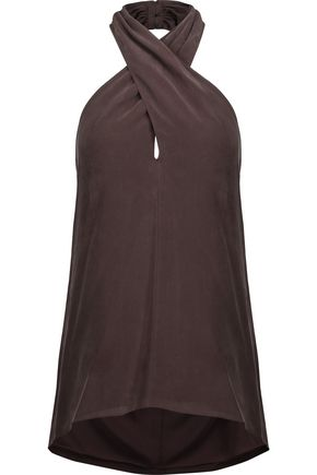 THEORY Silk crepe de chine halterneck top