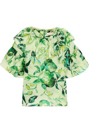 MERCHANT ARCHIVE Ruffled printed silk-organza blouse