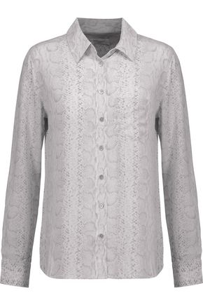 EQUIPMENT Brett snake-print washed-silk shirt