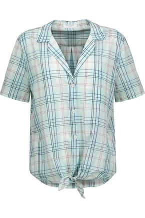 EQUIPMENT Keira tie-front checked cotton-broadcloth shirt