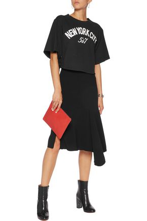 CINQ À SEPT Harlow cropped lace-up printed cotton-jersey T-shirt