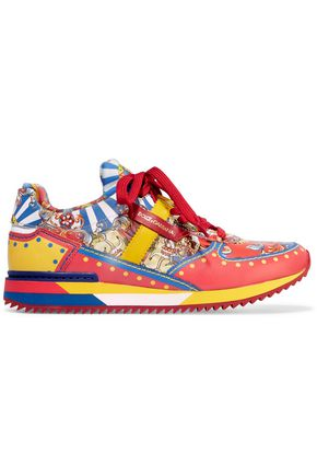 DOLCE & GABBANA Printed leather sneakers