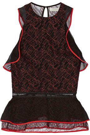 JONATHAN SIMKHAI Ruffled silk chiffon-trimmed lace peplum top