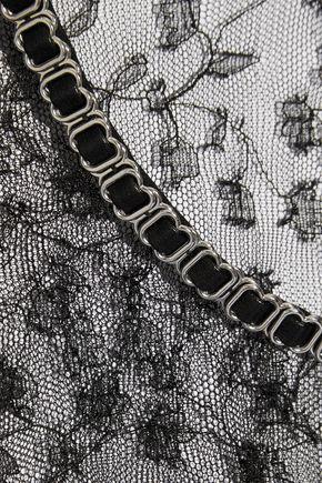 ALEXANDER WANG Appliquéd floral-lace top