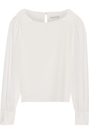 ALICE + OLIVIA Bey lace-trimmed stretch-silk top