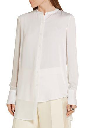 DKNY Chiffon-paneled stretch-silk crepe de chine blouse