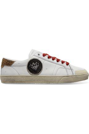 SAINT LAURENT Court Classic suede-trimmed appliquéd distressed leather sneakers