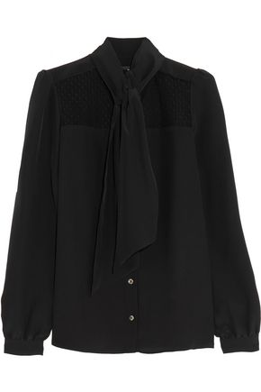 VANESSA SEWARD Darla pussy-bow point d'esprit-paneled silk crepe de chine blouse