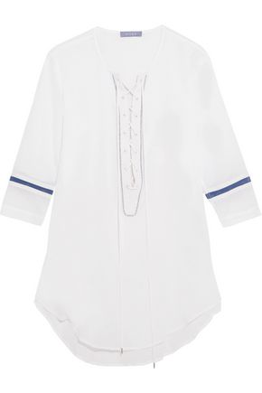 KOZA Faye lace-up cotton-gauze kaftan