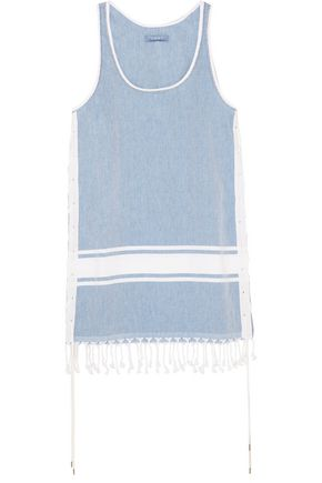 KOZA Lebron fringed cotton-chambray dress