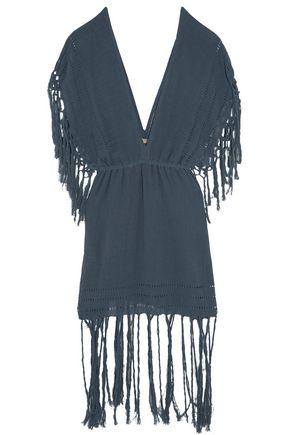 CARAVANA Mykonos tasseled cotton-gauze dress