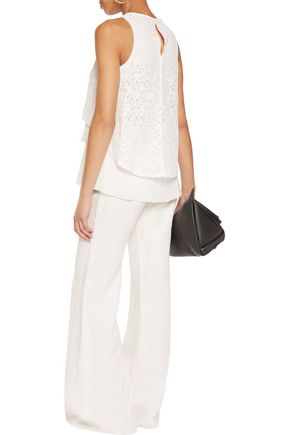 DEREK LAM 10 CROSBY Empire layered corded lace and cotton-blend top