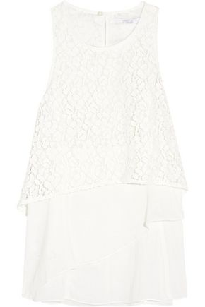 10 CROSBY DEREK LAM Empire layered corded lace and cotton-blend top