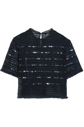 GOEN.J Open-knit cotton sequinned top