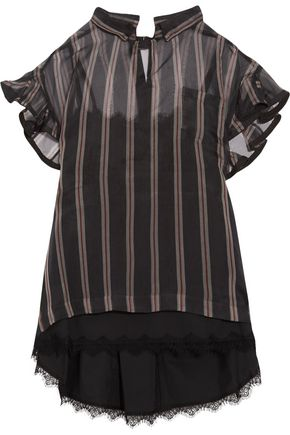 SACAI Ruffled striped silk-organza top