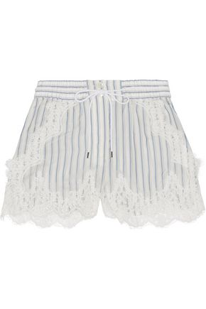 SACAI Lace-trimmed striped shell shorts