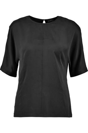 JOSEPH Silk-satin and silk-blend jersey top