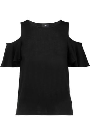 LINE Niamh cold-shoulder crepe de chine-paneled knitted top