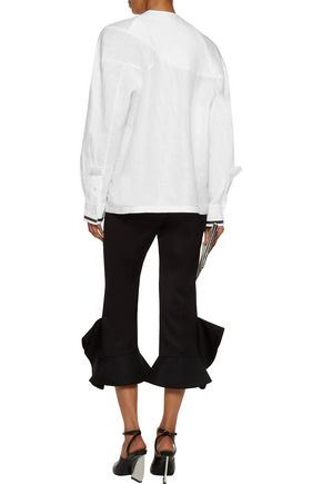 J.W.ANDERSON Oversized pintucked cotton-paneled linen top