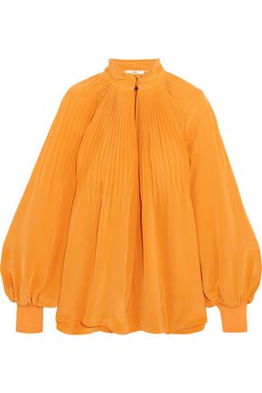 TIBI Plissé silk crepe de chine blouse