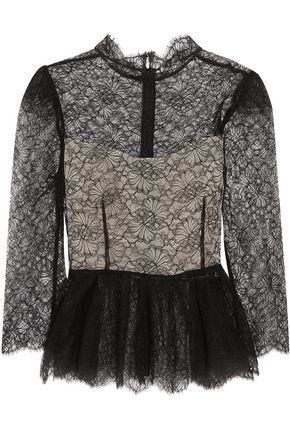 VILSHENKO Magda Chantilly lace peplum top