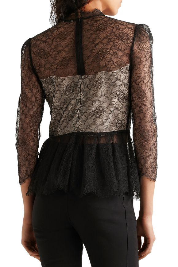 Magda Chantilly lace peplum top | VILSHENKO | Sale up to 70% off | THE  OUTNET