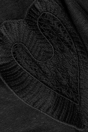 SANDRO Tolsy cutout silk-trimmed slub linen top