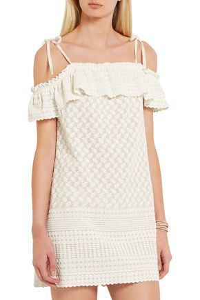 PALOMA BLUE Havana off-the-shoulder embroidered woven mini dress