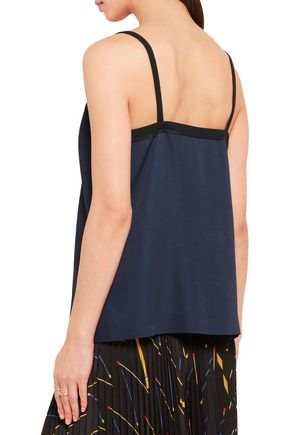 VICTORIA, VICTORIA BECKHAM Crepe and silk satin-trimmed twill camisole