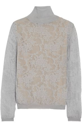 OSCAR DE LA RENTA Cotton-blend lace turtleneck top