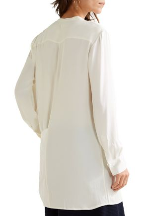 DKNY Wrap-effect silk-blend satin-paneled crepe de chine blouse