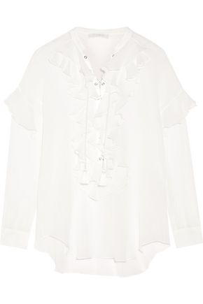 CHLOÉ Ruffled lace-up cotton-gauze blouse