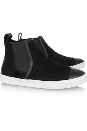 JIMMY CHOO Della faux shearling-lined suede high-top sneakers