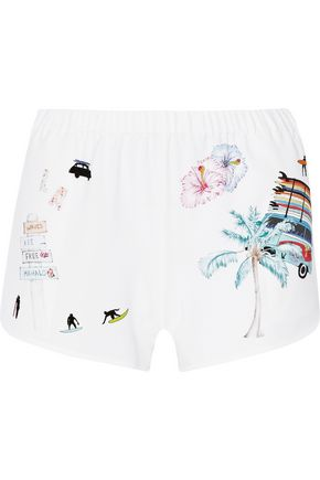 Ç X MIRA MIKATI Printed stretch-crepe shorts