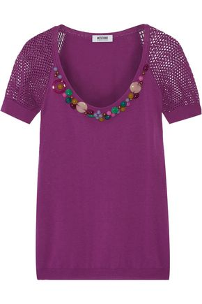 MOSCHINO CHEAP AND CHIC Embellished knitted cotton top