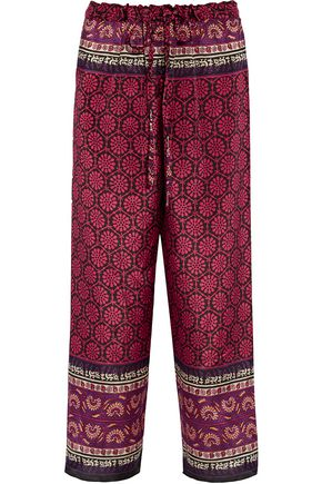 ANNA SUI Printed silk and cotton-blend straight-leg pants