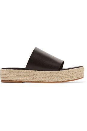 TIBI Masha leather espadrille platform mules