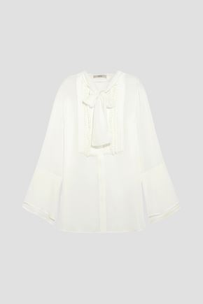 ETRO Pussy-bow pintucked silk-georgette blouse