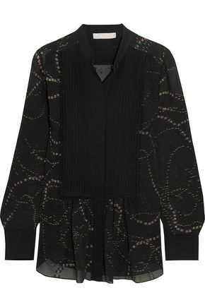 CHLOÉ Pintucked metallic fil coupé silk-chiffon blouse