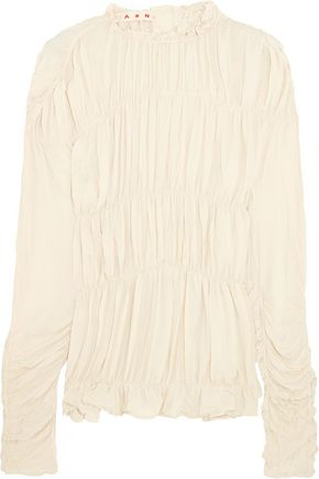 MARNI Ruched crepe de chine top