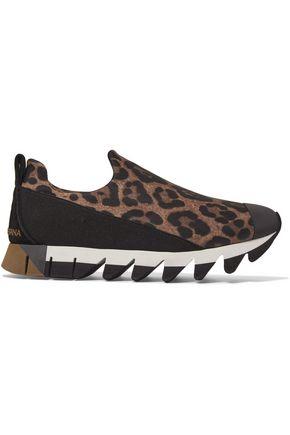 DOLCE & GABBANA Ibiza leopard-print neoprene slip-on sneakers
