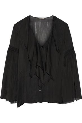 ROBERTO CAVALLI Crochet-trimmed ruffled silk-chiffon shirt