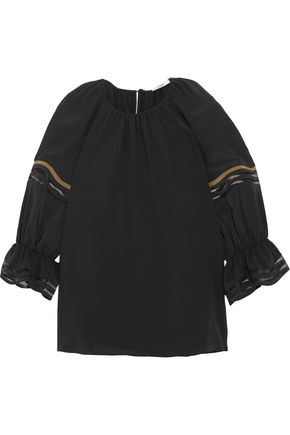 FENDI Mesh-trimmed silk crepe de chine blouse